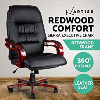 Artiss Office Chair with Redwood Frame Executive Wooden Office Chair Suit for Office Meeting Adjustable Height Leather Padded and High Back Office Chair