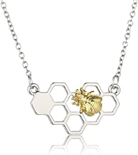 xingqiong Molecular Structure Honeycomb Pendant Necklace Cute Honey Bee Bumblebee Necklace for Women Girls Chemical Students Jewelry Gift