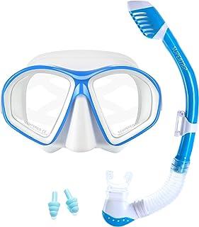 Supertrip Kids Snorkel Set-Scuba Dry Top Diving Mask Anti-Leak Impact Resistant Panoramic Tempered Glass Easybreath Snorke...