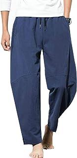 Lentta Men's Baggy Linen Drawstring Loose Cropped Harem Pajama Yoga Summer Pants