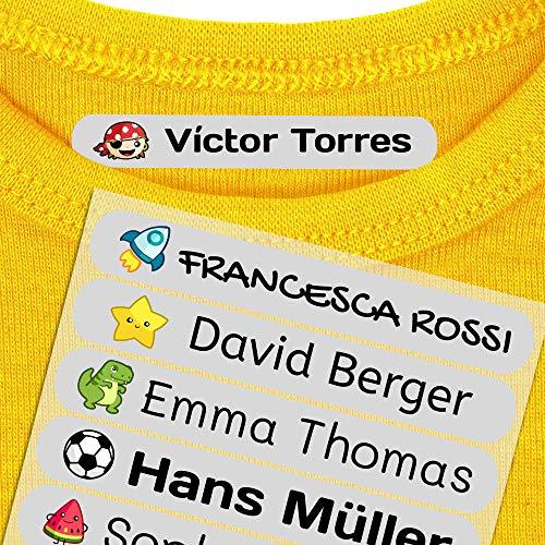 50 Etiquetas adhesivas para ropa personalizadas. Pegatinas termoadhesivas con nombre para marcar la ropa de niños y bebés (con plancha). Tamaño 6 x 1 cm. Resistentes a lavadora.