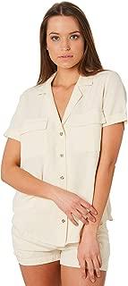 Rhythm Women's Venice Shirt Short Sleeve Linen Rayon White