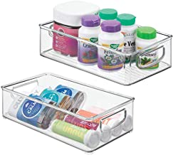 mDesign Stackable Plastic Storage Organizer Container Bin with Handles for Bathroom - Holds Vitamins, Pills, Supplements, Essential Oils, Medical Supplies, First Aid Supplies - 3