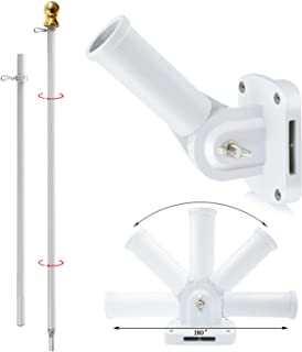 Jetlifee 6FT Tangle Free Spinning Flag Pole Kit - Aluminum Heavy Duty American US Flagpole with Free Metal Bracket White Colored, Rustproof for Outdoor Mall Wal (White Flag Pole + White Bracket Mount)