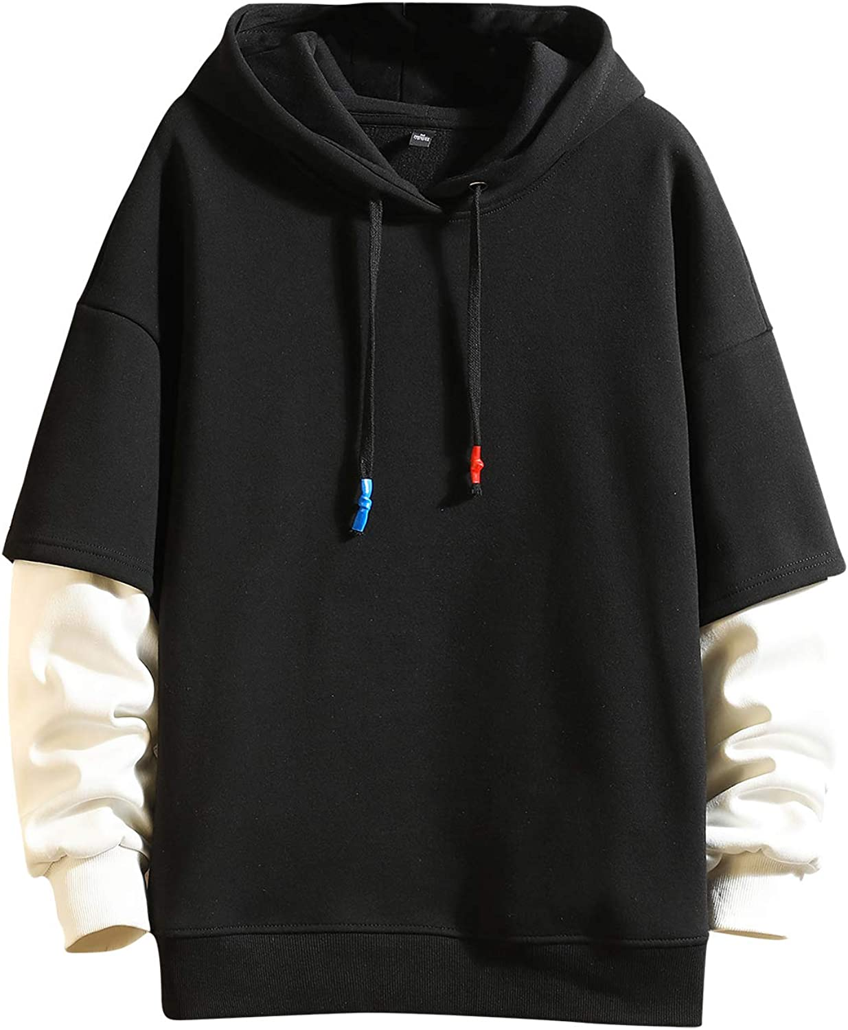 Fashion Hoodies Men's Color Block Pullover O-Neck Hooded Sweatshirt Patchwork