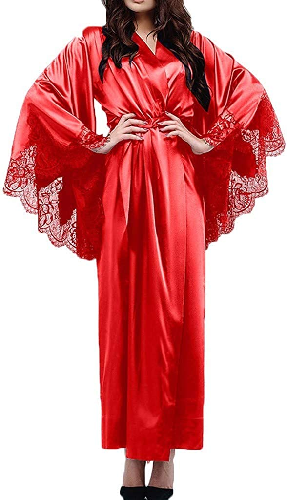 NREALY PJ Womens Sexy Lace Satin Kimono Long Robe Bathrobe Lingerie Sleepwear Belt Pajamas