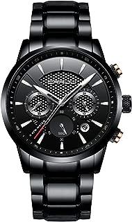 Brand Men's Business Casual Chronograph Quartz Waterproof Wristwatch Black Stainless Steel Strap