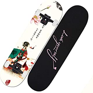 Skateboard Deck, Adults Kids Skateboard,Complete Board with ABEC-9 Bearing 7-Layer 92A Hard Maple Deck,31x7.5lnch Load 200 kg for Beginners and Professionals