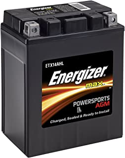 Energizer ETX14AHL AGM Motorcycle and ATV 12V Battery, 210 Cold Cranking Amps and 12 Ahr.  Replaces: YTX14AHL-BS and others,Black