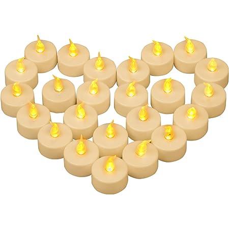 Yooyee Bougies à LED Sans Flamme 24 Pièces Bougies Chauffe-plat Vacillante Ambre Jaune Lumière Bougie à Thé Bougies électriques à Piles pour Décoration la Mariage Fête de Noël - Jaune Chaud