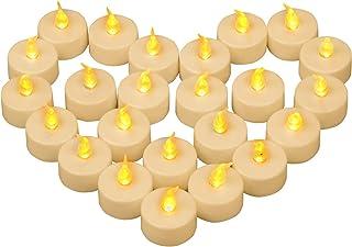 Yooyee Bougies à LED Sans Flamme 24 Pièces Bougies Chauffe-plat Vacillante Ambre Jaune Lumière Bougie à Thé Bougies électr...