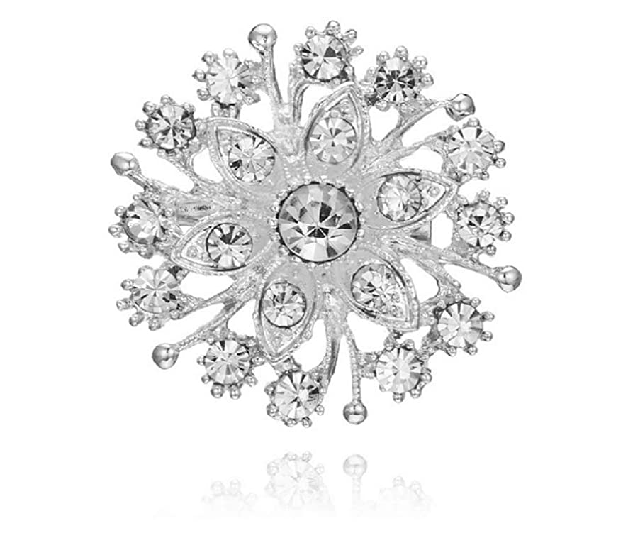 Weishu Women's Transparent Austrian Crystal Winter Snowflake Brooch pin Rhinestone Elegant Christmas Brooch Brooch CZ Art Snow Flower Brooch