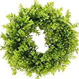 HUAESIN Artificial Green Leaves Wreath 17 Inch Boxwood Front Door Wreath Eucalyptus Greenery Wreath for Outdoor Indoor Window Wall Fireplace Decoration