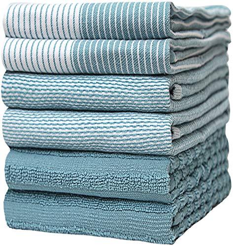 Bumble Küchenhandtücher - Geschirrhandtücher Handtücher Baumwolle – 6er Pack – XL Größe 50 x 70 cm – Edle, Weiche und Robuste Ringspinnbaumwolle in 3 Verschiedenen Texturen (Aqua)