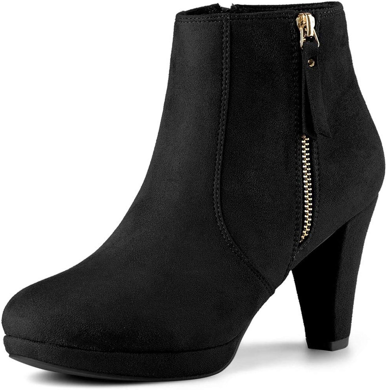 Allegra K Women's Side Zip Low Platform Chunky Heel Ankle Booties