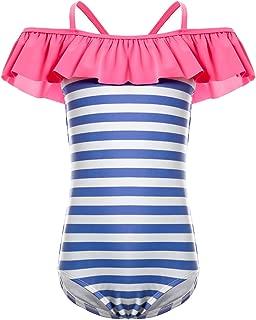 DAYU Girls Ruffles Off Shoulder One Piece Bathing Suit for Kids