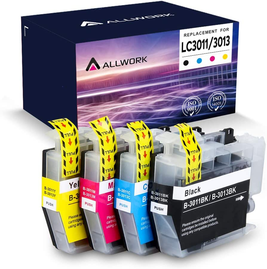 Allwork LC3011 Compatible Ink Cartridges Replacement for Brother LC3011 / LC3013 Works with Brother MFC-J491DW Brother MFC-J497DW Brother MFC-J690DW Brother MFC-J895DW 4Packs (KCMY)