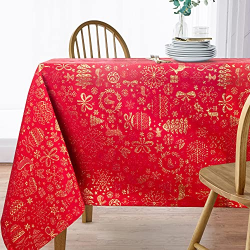 VISTE TU HOGAR Mantel con Hilo Dorado, Mantel Navidad, 140 x 140 CM, Decoración Navideña, Ideal para Navidad y Otras Fechas Especiales, Color Rojo