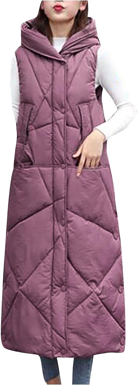ZHISHILIUMAN Women's Lightweight Down Parka Jacket Coat Vest Sleeveless Full-Length Down Jacket Hooded Puffer Coat
