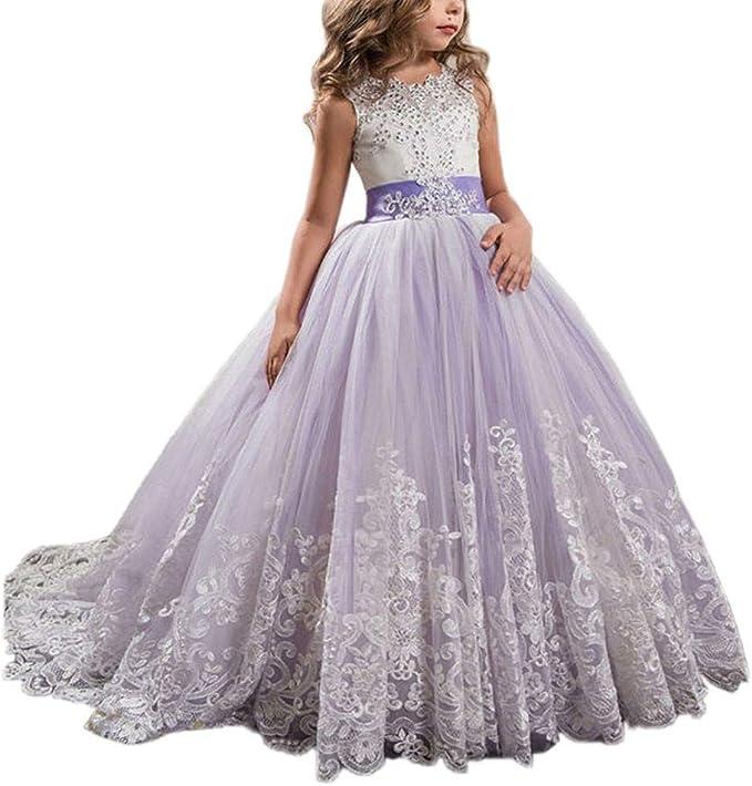 Kobay Kobay Madchen Prinzessin Festzug Langes Kleid Kinder Prom Ballkleider Hochzeit Blumenkleider Kleider Amazon De Bekleidung
