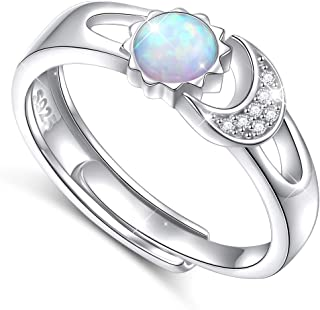 Flyow Created Opal Ring Sterling Silver Sun Moon Adjustable Rings for Women