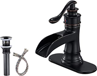 BWE Waterfall Bathroom Sink Faucets Single Handle One Hole Lever Faucet Oil Rubbed Bronze Commercial