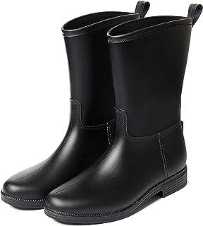 LINGZE Botte de Pluie mi-Mollet pour Dames, Chaussures d'eau de Chasse en Plein air, Chaussures de Protection de Marche an...