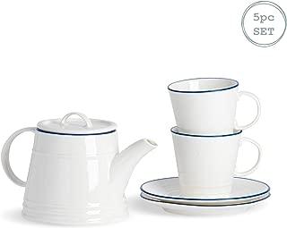 Nicola Spring Farmhouse Tea Set - 900ml Teapot & Set of 2 300ml Tea Cups & Saucers - White/Blue