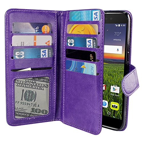 NEXTKIN Case Compatible with Alcatel Idol 4 DALK4004 Blackberry DTEK50 Nitro 4 5.2 inch, Leather Wallet TPU Cover, 2 Pockets Double flap, Multi Card Slots Snap Button Strap for Alcatel Idol 4 - Purple