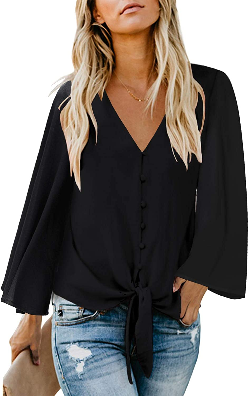 luvamia Womens V Neck Tops Ruffle 3//4 Sleeve Tie Knot Blouses Button Down Shirts