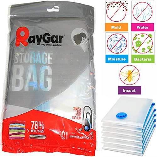 RayGar 6 Bags Pack Vacuum Compressed Storage Saving Bags 70 X 50 cm Clothing, Duvets, Bedding, Pillows, Curtains, Travelling - New
