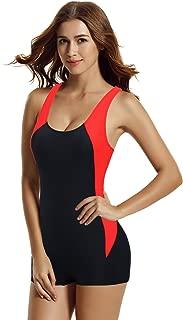 zeraca Women's Boyleg Racerback Athletic One Piece Swimsuits Swimwear