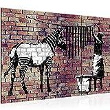 Quadri Moderni Banksy Donna che Asciuga le Zebre 120 x 80 cm Soggiorno Grande Marrone Sala Da Pranzo 012931b