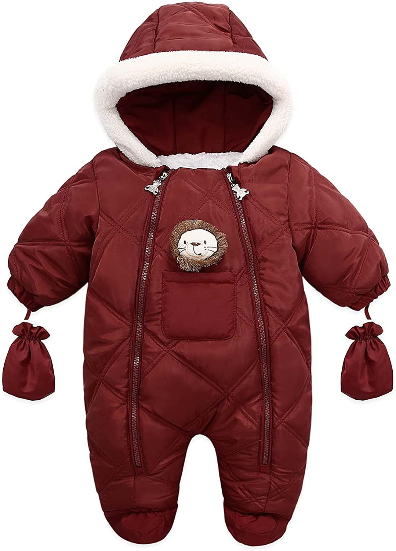 Tengoait Toddler Baby Girls Boys Snowsuit Warm Fleece Hoodie Jumpsuit Winter Romper