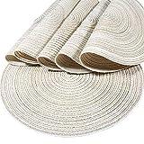 Diealles manteles individuales, mantel individual de tejido redondo resistente al calor alfombrillas de comedor 36 cm beige (juegos de 6)