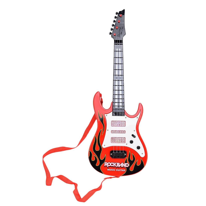 したがってルーキーページ玩具ギター HAOUN エレキギター 初心者セット 子供用 キッズギター 4弦ミニギター LED キッズ楽器 楽器玩具 知育玩具 教育玩具 - レッド2