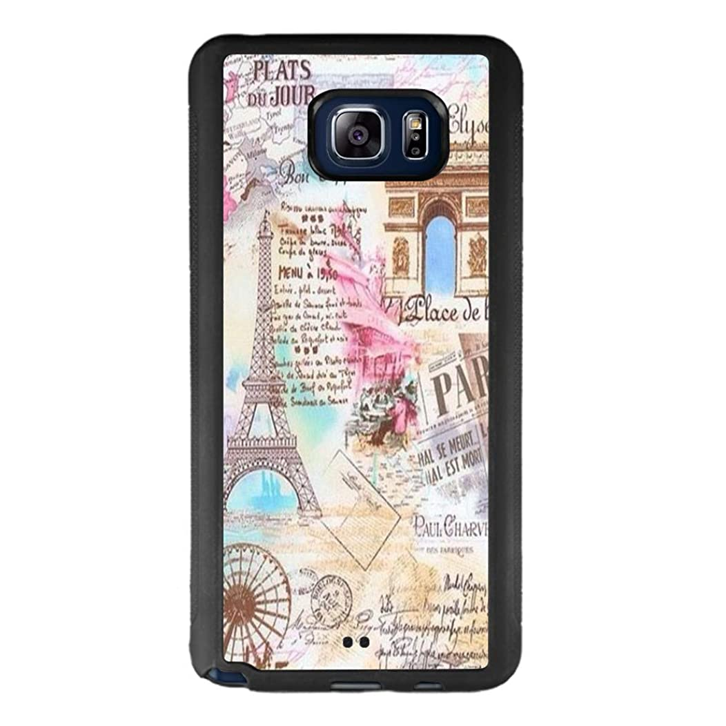 Samsung Galaxy Note 5 Case with Eiffel Tower Pattern Whimsical Design Bumper Black Soft TPU and PC Protection Anti-Slippery &Fingerprint Case for Samsung Galaxy Note 5