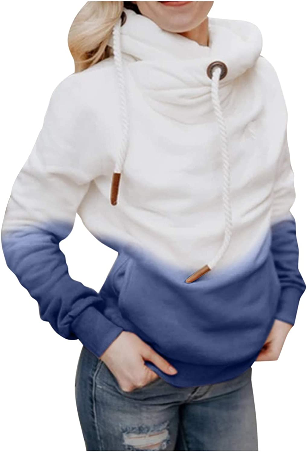Drawstring Hooded With Pockets for Women Casual Surprise price Now on sale Winter Gradient