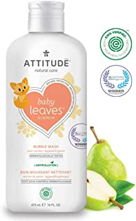 ATTITUDE Natural Baby Bubble Wash, EWG Verified, Hypoallergenic, Pear Nectar, 16 Fluid Ounce (473 mL)