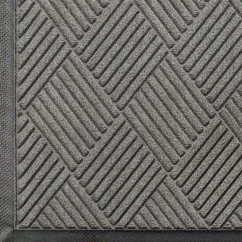 WaterHog Diamond | Commercial-Grade Entrance Mat with Rubber Border – Indoor/Outdoor, Quick Drying, Stain Resistant Door Mat (Medium Grey, 4' x 6')