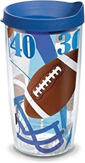 Tervis 1141788 Football Yards Background Tumbler with Wrap and Blue Lid 16oz, Clear