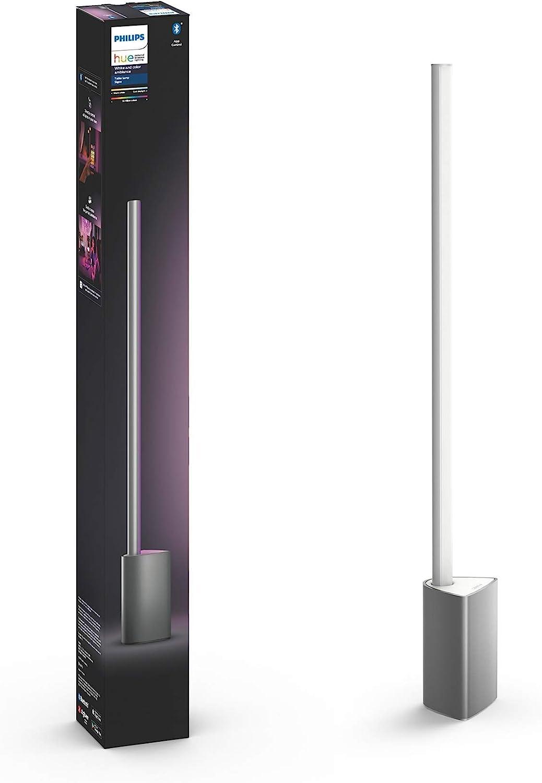 Philips Hue – Lámpara de Mesa Signe Inteligente LED, Luz Blanca y Color, Compatible con Bluetooth y Zigbee, Compatible con Alexa y Google Home, Color Aluminio