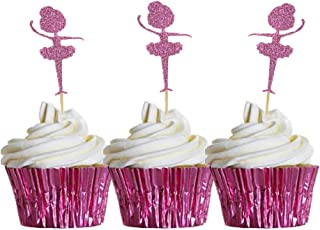 HOKPA Glitter Ballerina Cupcake Toppers Tutus, Ballet Dancer Cake Food Picks for Wedding Baby Shower Grils' Birthday Party Decoration (20PCS Pink)