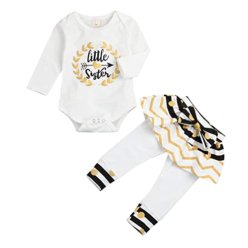 d11356b5abb7 Newborn Little Sister Baby Little Girls Skirts Leggings Pants Gifts Outfits  Set