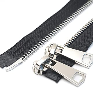 """YaHoGa #5 24 Inch Two Way Separating Jacket Zipper Silver Metal Zippers for Jackets Coats Sewing Crafts (24"""" TW Silver)"""