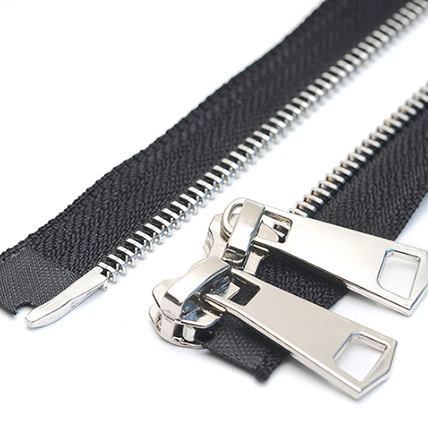 YaHoGa #5 32 Inch Two Way Separating Jacket Zipper Silver Metal Zippers for Jackets Coats Sewing Crafts (32
