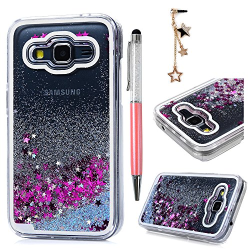 Galaxy Core Prime Case, MOLLYCOOCLE Transparent Clear PC Hard Plastic Shell 3D Bling Sparkle Glitter Quicksand Cute Star Flowing Liquid Cover for Samsung Galaxy Core Prime SM-G360F G3606 G3608 G3609