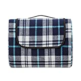 Extra Large Picnic & Outdoor Blanket with Waterproof Backing 90' x 80' White& Navy Blue