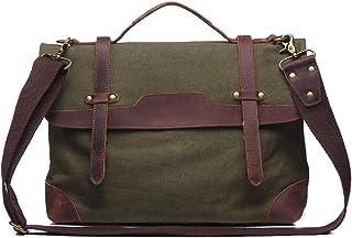 15-15.6 inch Laptop Messenger Bag,Mens Retro Canvas Satchel Briefcase Shoulder Bag for Work Office,Green,40 * 29 * 10cm