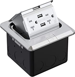 WEBANG Pop Up Floor Outlet Covers Box with 20 Amp Stainless Steel USB TR Receptacle Outlet (Silver)